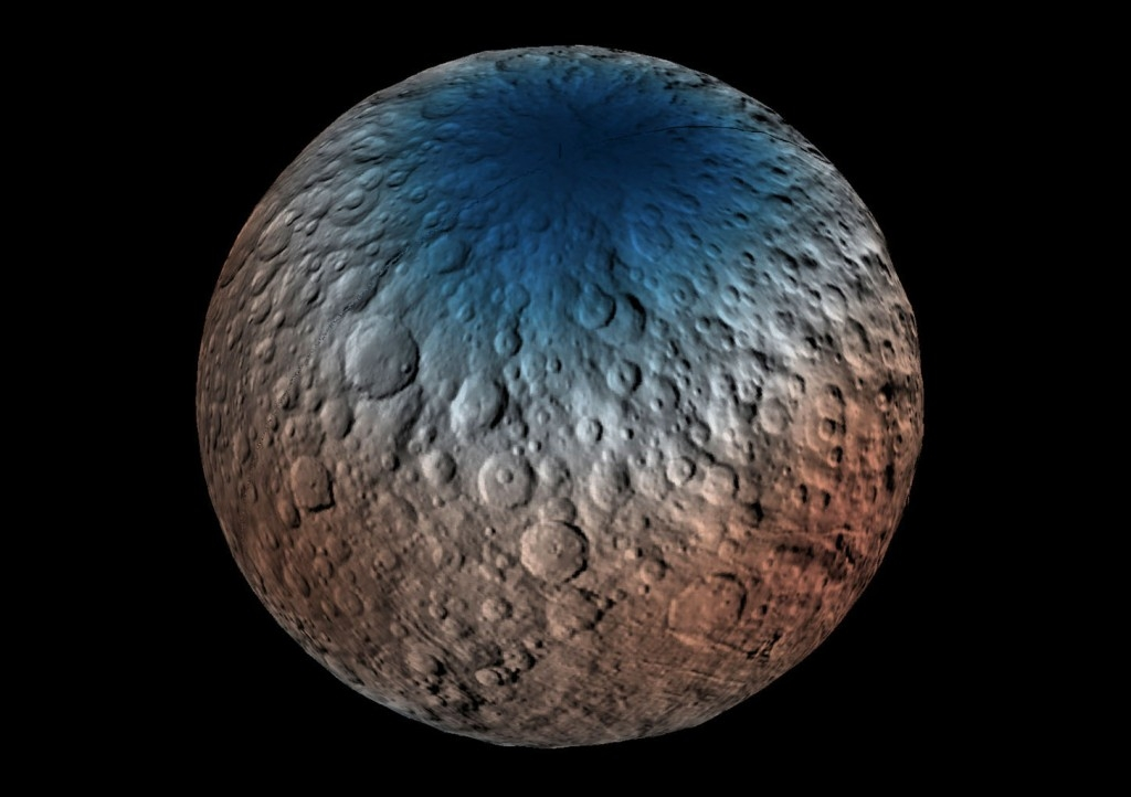 Một phần Bắc Bán Cầu hành tinh lùn Ceres được chụp bởi tia gamma và máy dò Neutron.