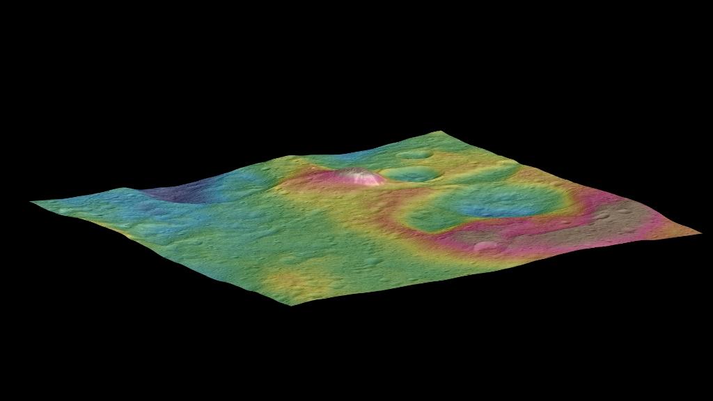 Phát hiện một ngọn núi hình nón cao trên Ceres.
