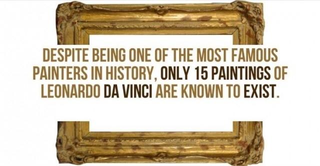 Mặc dù là một trong những họa sĩ nổi tiếng nhất trong lịch sử, nhưng chỉ có 15 bức tranh của Leonardo Da Vinci được biết là tồn tại.