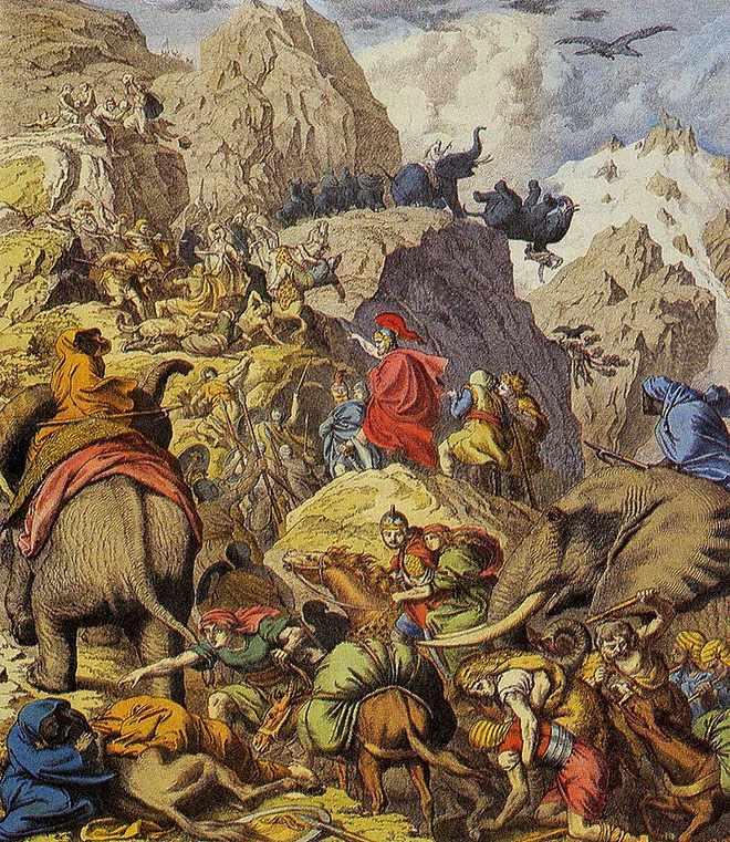 Hannibal cùng ngựa chiến và voi chiến vượt qua dãy Alps.