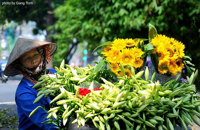 Hoa theo chân những người bán rong xuống phố. Mỗi bó 10 bông có giá 35.000 đồng.