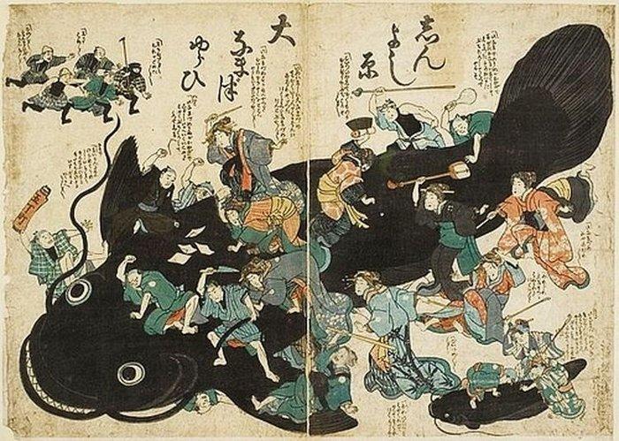 Hình vẽ oonamazu xuất hiện trong các truyền thuyết của Nhật.