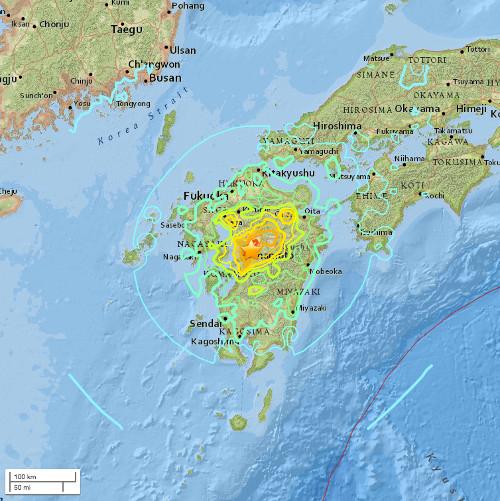 Trận động đất 7 độ richter vào Kumamoto, đảo Kyushu, Nhật Bản ngày 16/4/2016.
