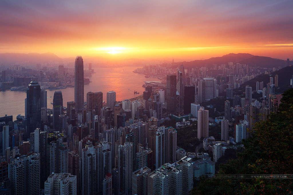 Hong Kong với những tòa nhà chọc trời nằm san sát.
