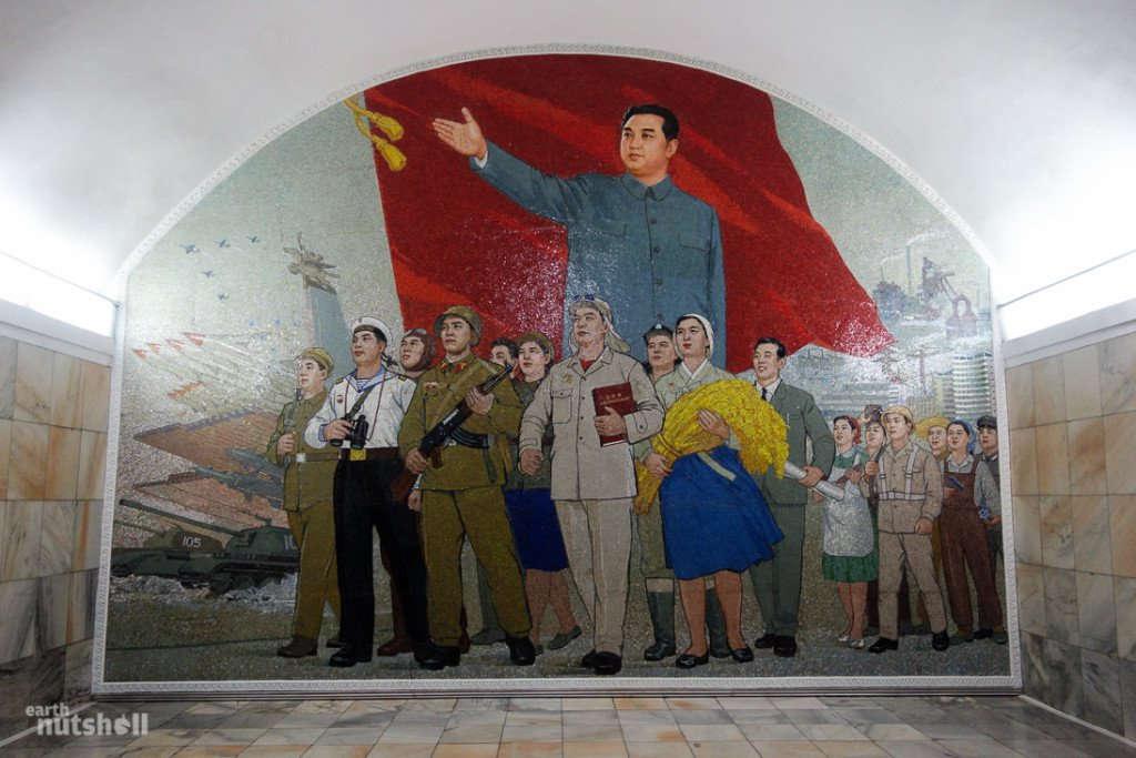 Một bức tranh cổ động khác về ông Kim Chính Nhật.