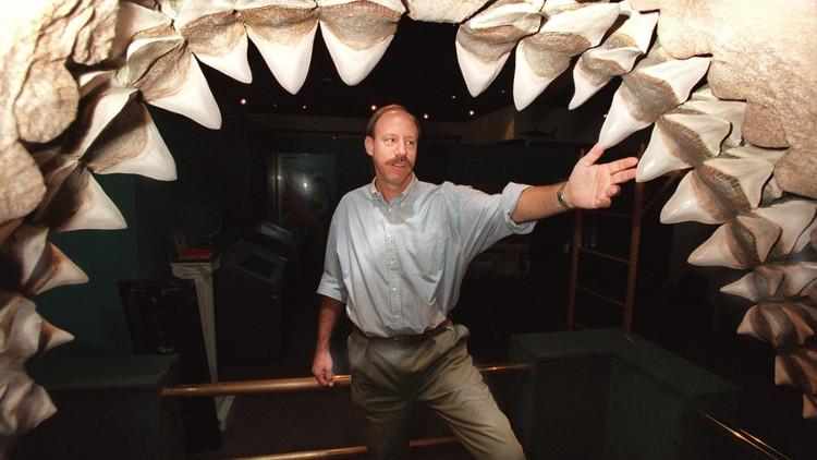 Jeff Seigel, người quản lý bảo tàng, đứng bên trong hàm hóa thạch khổng lồ của Megalodon.