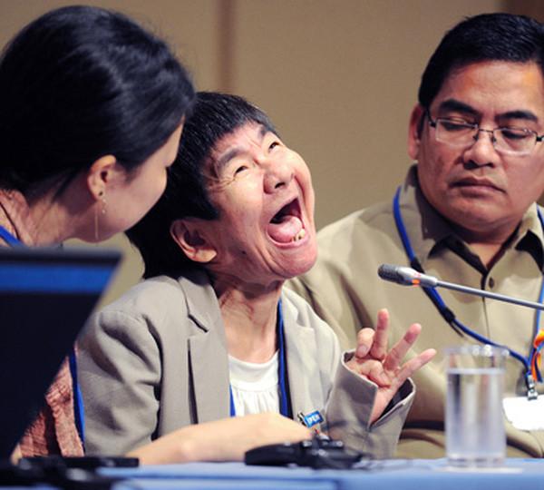 Một trong những nạn nhân Minamata đấu tranh đòi bồi thường thiệt hại.