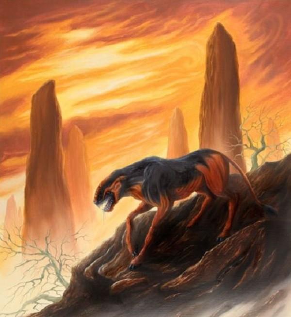 Crocotta được miêu tả có hình dáng giống chó lai sói hoặc sư tử lai sói
