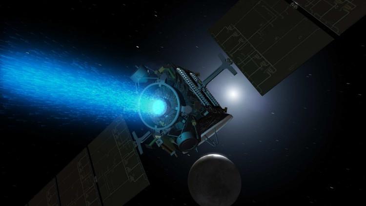 Tàu vũ trụ Dawn với động cơ SEP đang hoạt động.