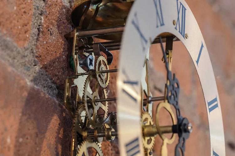 Hình trên là phần bánh thoát của một đồng hồ quả lắc.