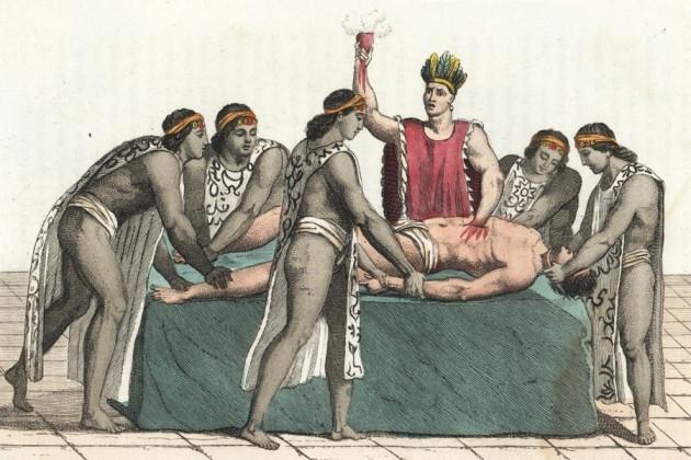 Một nghi lễ hiến sinh người ở người Aztec.