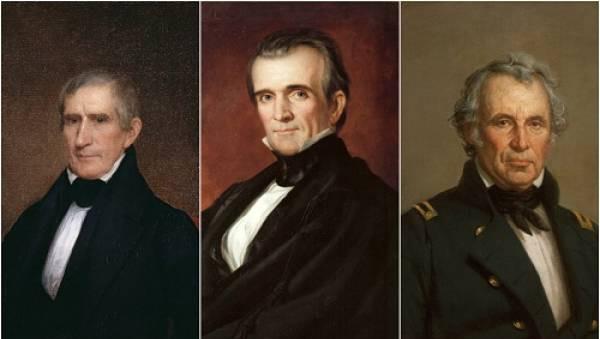 Ba tổng thống Mỹ từ trái sang phải là William Henry Harrison, James K. Polk và Zachary Taylor.