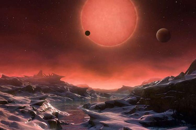 ình ảnh mô phòng bề mặt của một trong ba hành tinh quay quanh quỹ đạo ngôi sao lùn do Đài quan sát Nam Âu (EOS) cung cấp ngày 2/5.