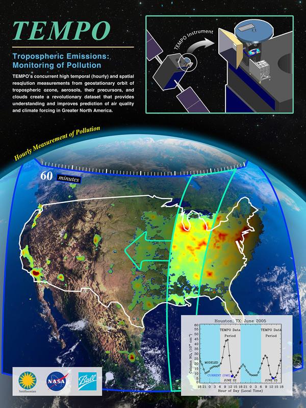 Hệ thống vệ tinh TEMPO cảm biến ô nhiễm giúp cung cấp kết quả vô cùng chính xác và chi tiết.