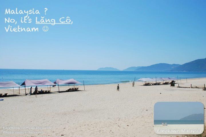 Tại sao phải đến Malaysia để tắm biển trong khi ngay tại Lăng Cô, Huế bạn cũng được tận hưởng biển xanh, cát trắng đẹp không hề kém cảnh bãi biển Langkawi?