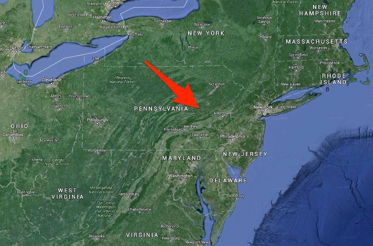 Centralia ở đầu mũi tên trên bản đồ Google Map.