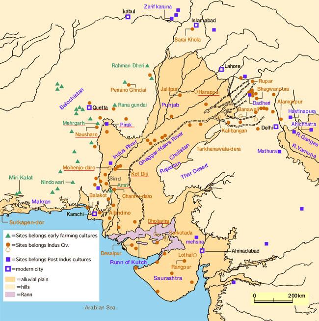 Bản đồ mô phỏng nơi từng tồn tại nền văn minh Indus.