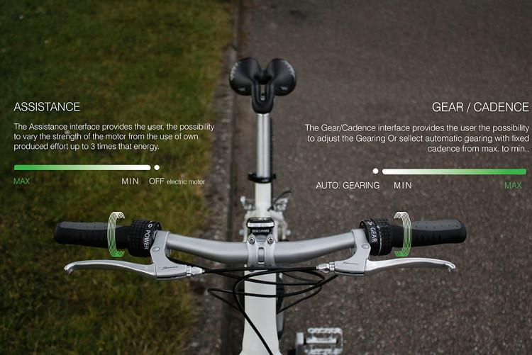 Thay vì phải vặn số bằng tay như các giải pháp xe đạp truyền thống thì bạn hộp số sẽ tự đổi từ số 1-4.