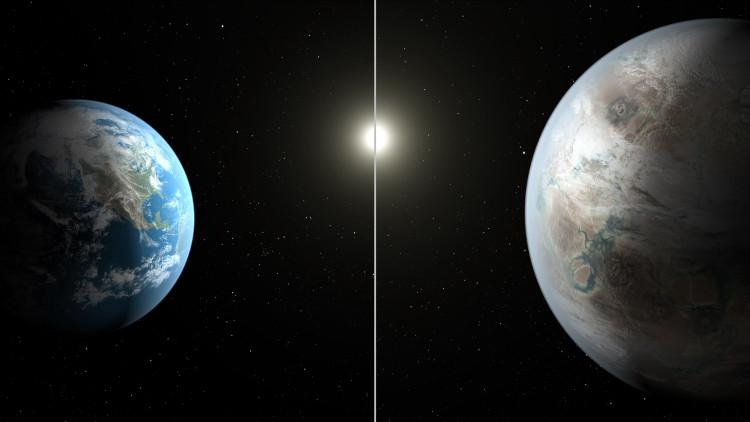 """Hành tinh Kepler 452b (hình phải) được cho là """"Trái đất thứ 2""""."""