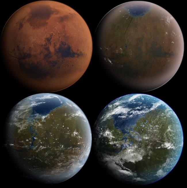 Hình minh họa quá trình cải tạo sao Hỏa.