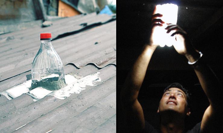 Những chiếc đèn tận dụng năng lượng Mặt trời bằng chai nhựa.