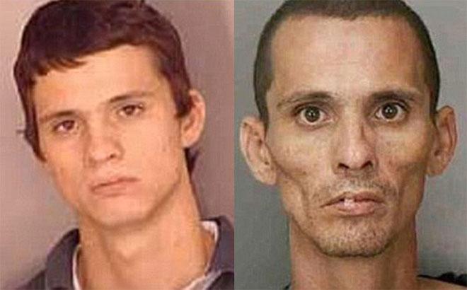 Trong hình, chàng thanh niên như trở thành người khác sau thời gian dùng ma túy.