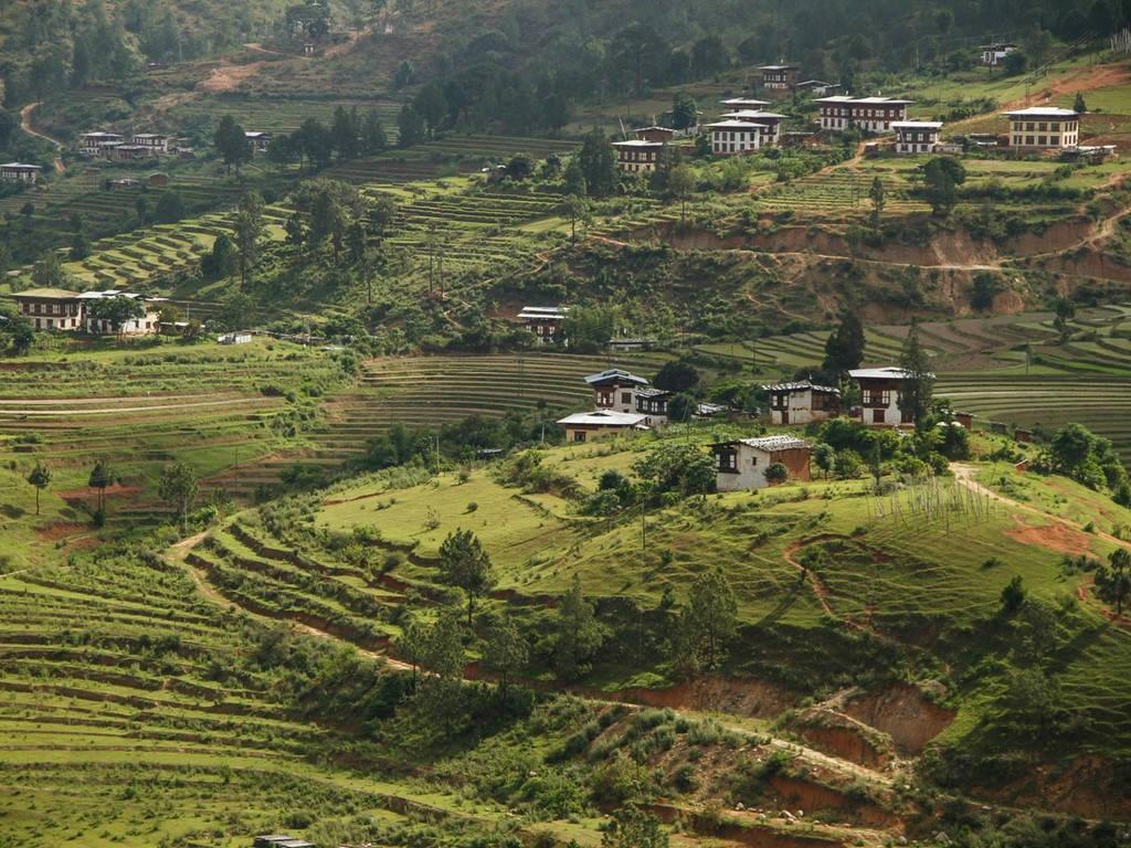 Những thửa ruộng bậc thang và ngọn đồi thoai thoải là hình ảnh thường thấy ở miền nông thôn Bhutan.