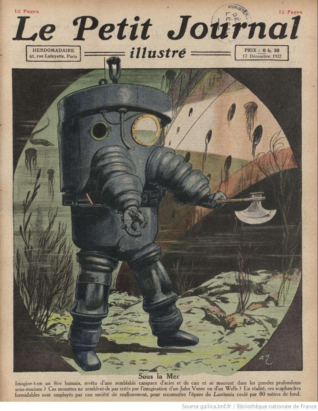 Người xưa đã tưởng tượng ra việc con người khoác lên mình những bộ áo bằng thép và đồng, lặn xuống độ sâu 80m dưới đáy biển để phục vụ nghiên cứu trục vớt con tàu Lusitania bị đắm năm 1915.