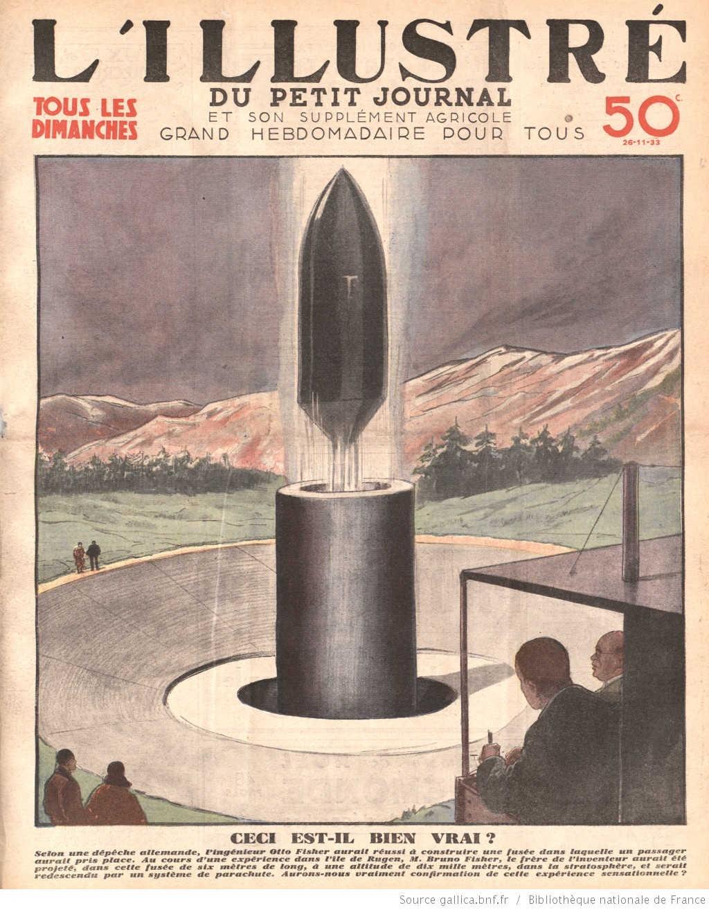 Quả tên lửa này dài 6m và đưa người lên độ cao 10.000m rồi hạ cánh bằng một hệ thống dù. Anh trai nhà khoa học Otto Ficher - Bruno, đã tình nguyện là người ngồi trong quả tên lửa đó.