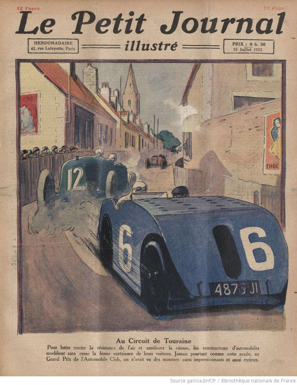 Bức tranh miêu tả một khúc cua tại đường đua ở Touraine, Pháp. Trong tranh, chiếc xe số 6 sở hữu một thiết kế mới lạ được cho là sẽ giúp giảm sức cản của gió và tăng tốc độ cho xe.