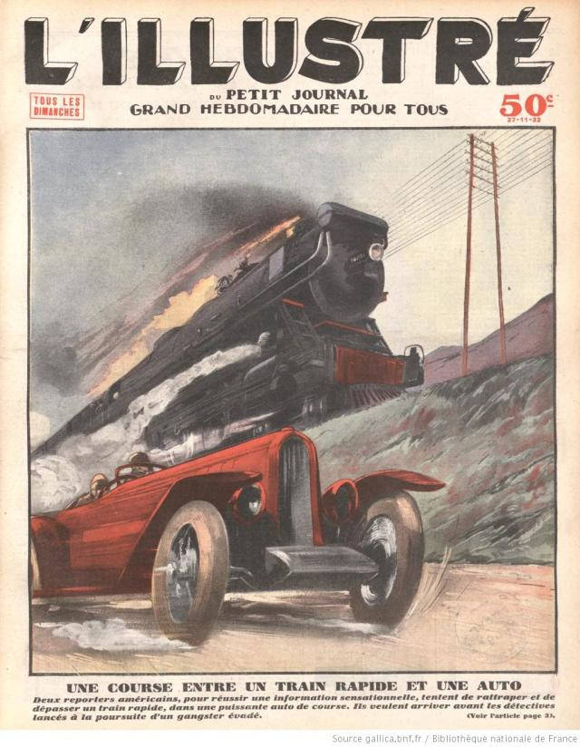 Họa sĩ Pháp đã tưởng tượng ra một màn rượt đuổi ngoạn mục giữa một chiếc ô tô khủng với một đoàn tàu hỏa – phương tiện được cho là di chuyển nhanh nhất thời bấy giờ.
