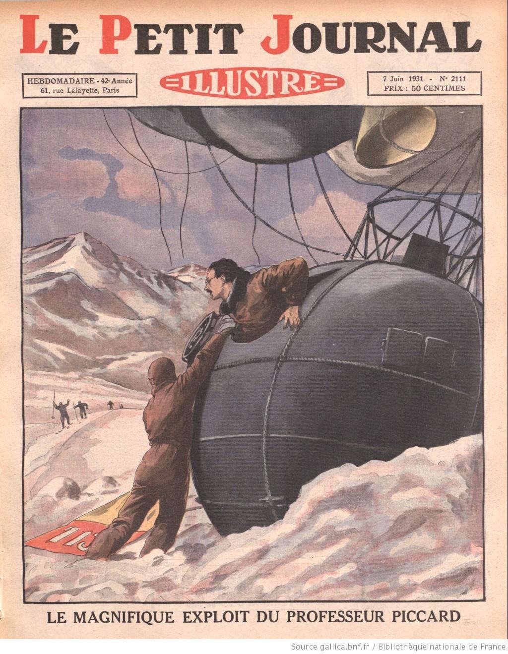 Trong bức tranh, giáo sư Piccard vừa chui ra khỏi một cỗ máy kỳ lạ, được cho là chiếc khinh khí cầu đặc biệt giúp ông thám hiểm những nơi có thời tiết khắc nghiệt như các ngọn núi tuyết.