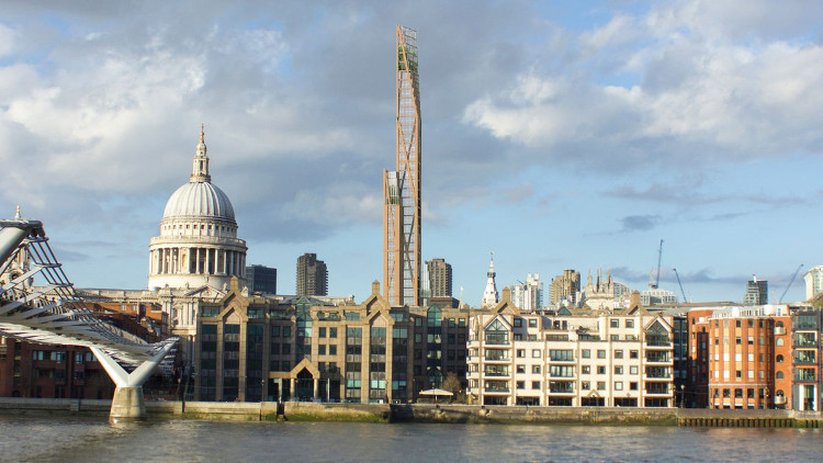 Hình ảnh thiết kế của tòa tháp bằng gỗ cao hơn 300m tại London.