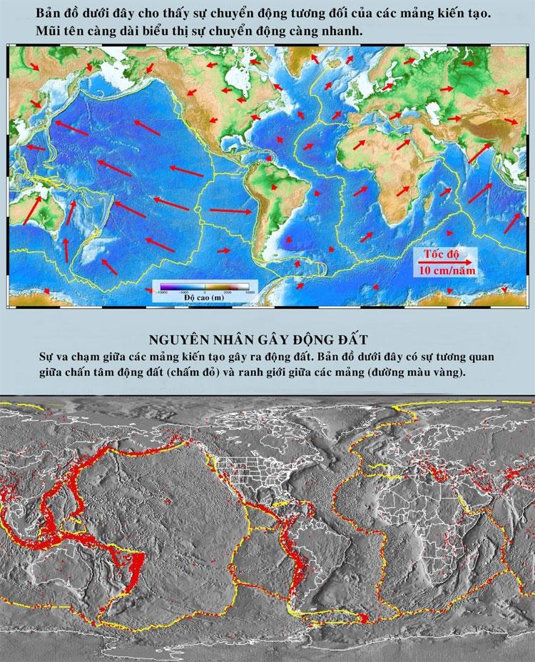 Sự va chạm giữa các mảng kiến tạo gây ra động đất.