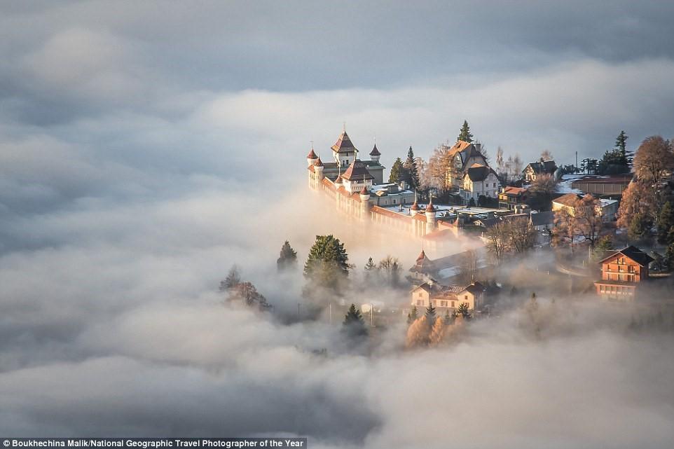 Bức ảnh đẹp như truyện cổ tích này được chụp trên đỉnh Sonchaux ở Thụy Sĩ, vào ngày khi mây ở khá thấp.