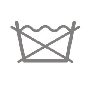 Biểu tượng này bao gồm ký hiệu Giặt thông thường kèm hai đường gạch chéo.
