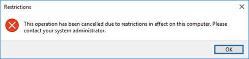 Thông báo không cho phép bạn tắt hệ thống khi thực hiện lệnh shutdown