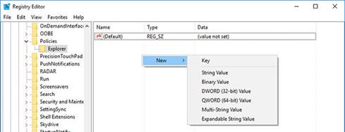 Tiến hành tạo khóa DWORD mới trong cửa sổ Registor Editor