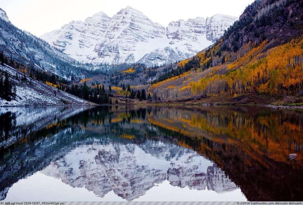 Sự giao thoa của mùa thu lá vàng và mùa đông băng giá ở Colorado, Mỹ.