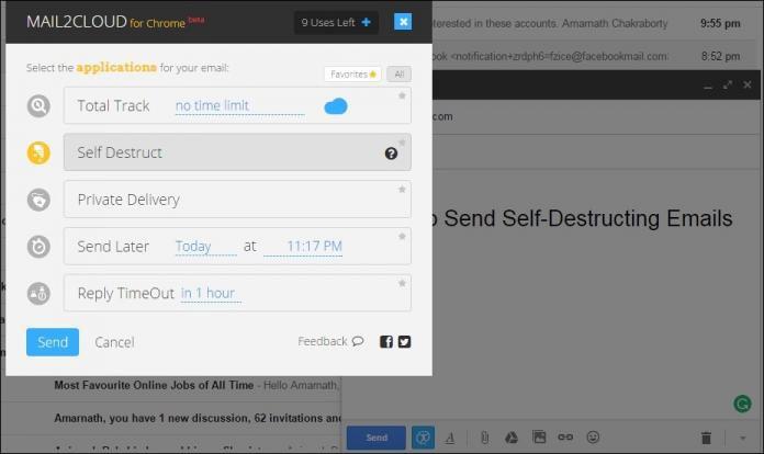 Nếu muốn soạn thư tự hủy, bạn chỉ cần vào biểu tượng Mail2Cloud và lựa chọn nút Self Destruct (Tự hủy)\Send (Gửi).