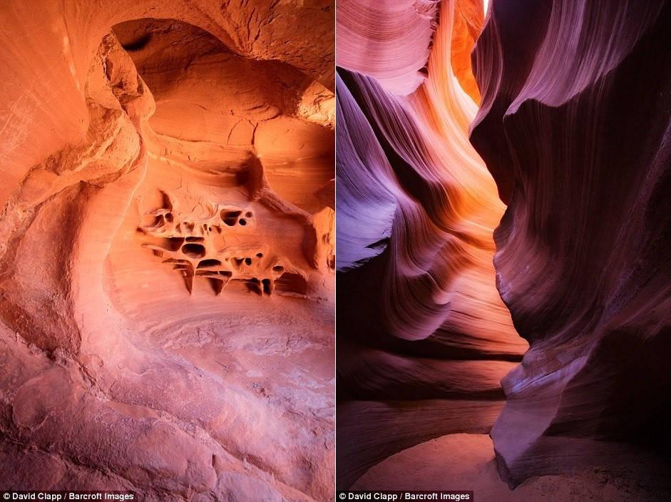 Khu sa thạch ấn tượng ở Kanab, Utah (ảnh trái) và hẻm núi Lower Antelope ở Page, Arizona (ảnh phải).