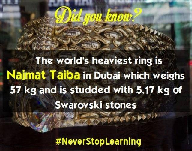 Chiếc nhẫn nặng nhất thế giới là Najmat Taiba ở Dubai. Nó nặng 57 kg và được tô điểm với 5,17 kg đá Swarovski (kim cương nhân tạo bậc nhất).