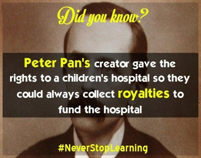 Tác giả Peter Pan đã quyết định tặng quyền tác giả cho một bệnh viện nhi đồng để họ luôn có thể thu tiền bản quyền tài trợ cho bệnh viện.