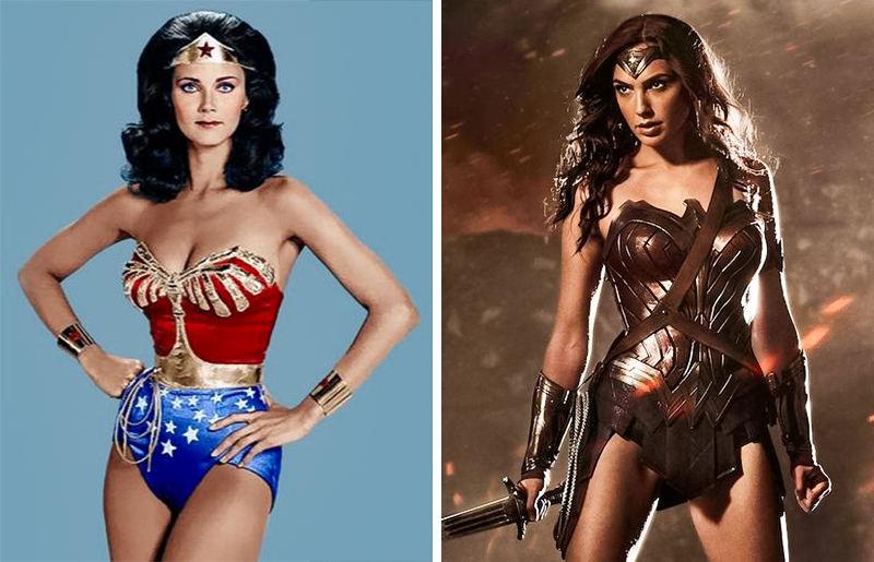 Vẻ gợi cảm của Wonder Woman phiên bản năm 1975 và 2016.