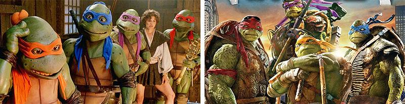 Ninja rùa phiên bản năm 1990 và 2016.