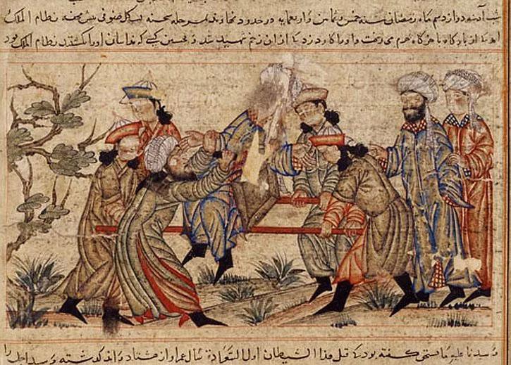 Một bức tranh thế kỷ 14 miêu tả vụ ám sát Nizam al-Mulk
