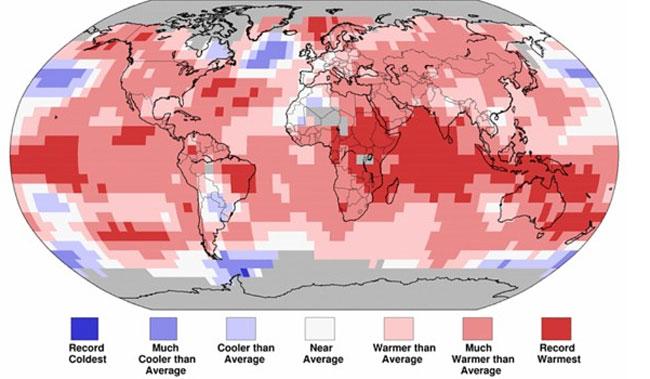 Nhiệt độ đất liền và đại dương từ tháng 1 - 4/2016.