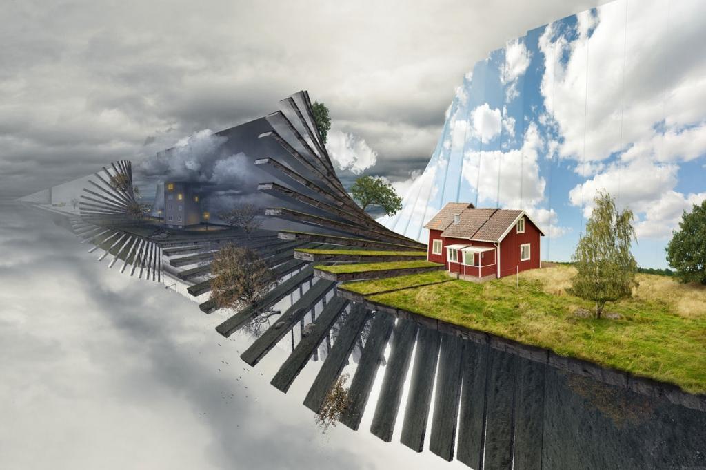 Nghệ sĩ người Thụy Điển sử dụng chính những bức ảnh mà anh chụp được trong thực tế để tạo thành một tác phẩm ảnh ghép siêu tưởng.