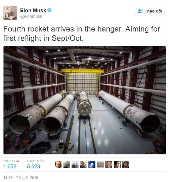 Chia sẻ của Elon Musk trên mạng xã hội Twitter.