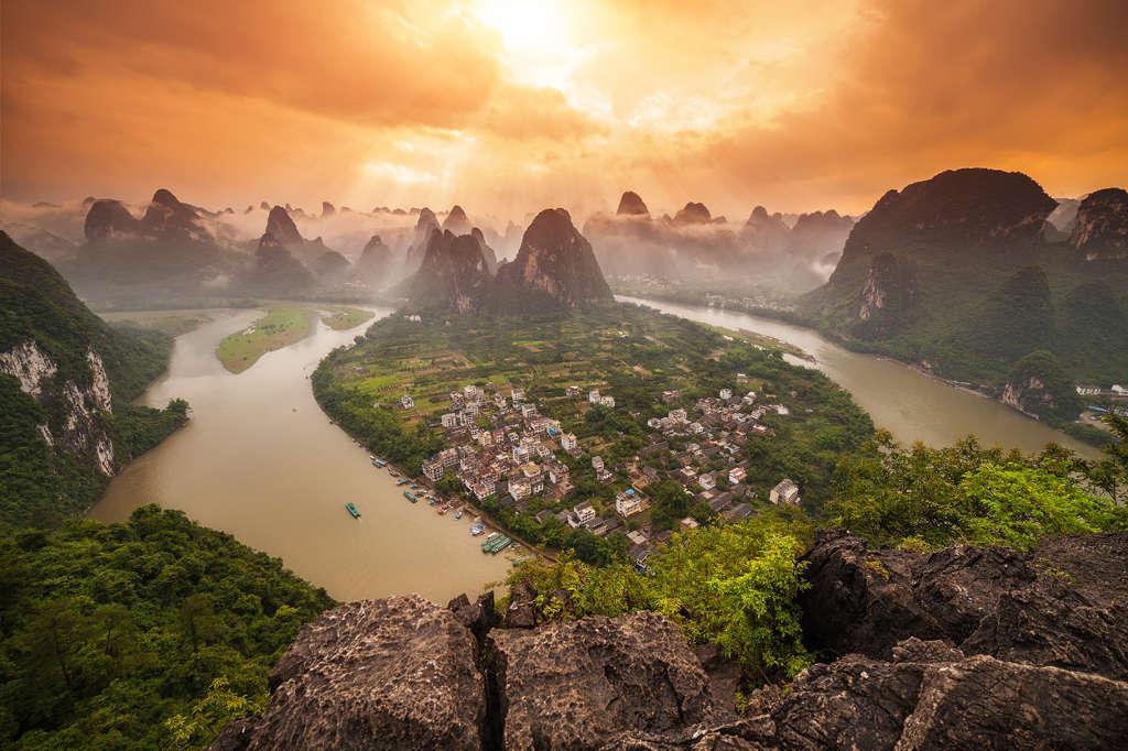 Phong cảnh đẹp như tranh vẽ ở Yangshuo, Xingping, Quảng Tây.